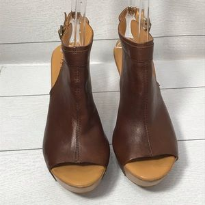 Kork-Ease Leather Peep-Toe Wedge Sandals Size 9